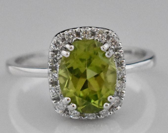 14K White Gold Peridot Ring | Wedding Ring | Engagement Ring | Anniversary Ring | Diamond Halo | Statement Ring | Handmade Fine Jewelry