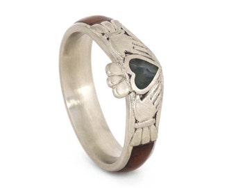 Wood Engagement Ring in 10k White Gold, Jade Heart Wedding Ring, Claddagh Ring With Honduran Rosewood