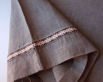 Brown Linen Tote Bag decorated with Latvian garter