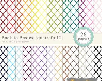 Quatrefoil digital paper 12x12, digital scrapbooking paper, royalty free commercial use -quatrefoil2- Instant Download
