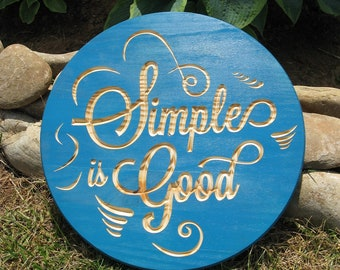 Simple is Good -  Routed Wood Disk 3D Wall Decor - Color Options DSK4