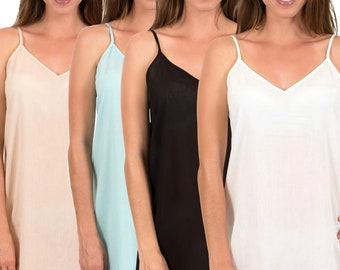 Cotton Dress Slip | Celine | Black, White, Crema and Turquoise | Above Knee | XS - 5XL