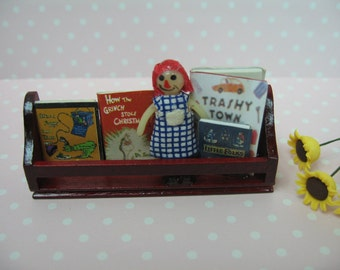 Miniature Dolls House Shelf with books and doll