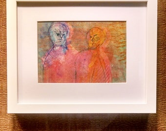 "original abstract expressionist contemporary raw art brut outsider pastels-""Televibers"""