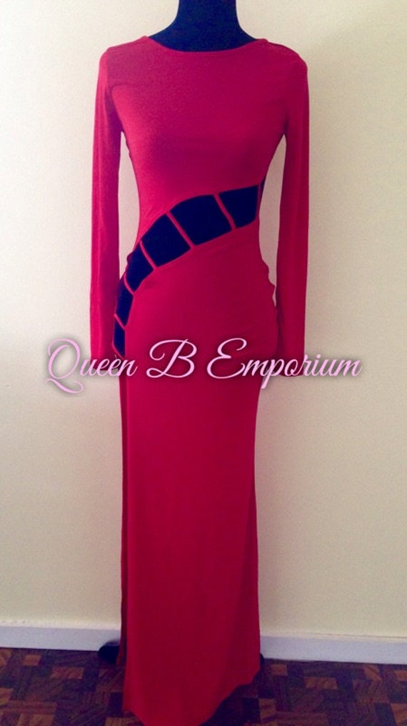 Classy Red Royal Cut Out Waisted Sexy long Evening Maxi Dress