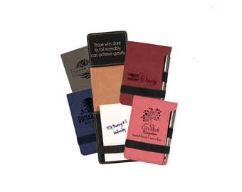 """Personalized  3 1/4"""" x 4 3/4"""" Leatherette Notepad with Pen/ Laser Engraved Note Pad/ Promotional Note Pad"""