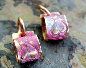 Handmade Copper Heart Bails, 2 pcs., stamped, Cotton candy patina, PurpleLily Designs, SRA Suitable for Viking Knit