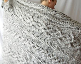 Gray Wool Blend Celtic Cable Knit Throw Blanket