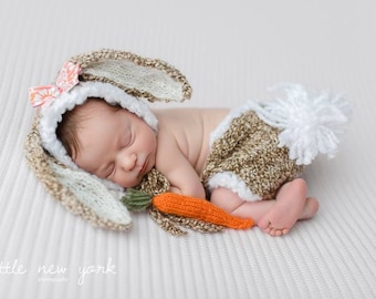 Bunny Beanie Diaper Cover Set Photo Prop Baby Animal Hat Newborn Shorts Hare Hand Knit Going Home Outfit Coming Knitted Easter Photography