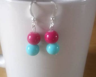 boho style pink and blue beaded earrings