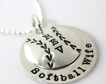 Softball/Baseball Sweet Stack of hand stamped and personalized discs | softball gift