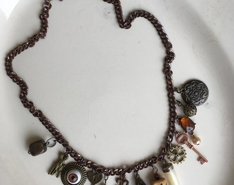 Copper Charm Necklace Scarab Eye Steampunk Boho Eclectic Jewelry