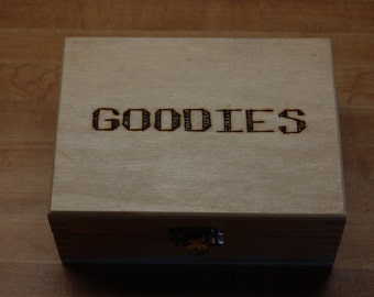 Wood burned wooden, hinged box