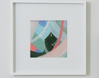 Queen of Hearts. Small Original Abstract Painting. Modern Art. Contemporary Acrylic Painting. Green, Blue, Peach. Canvas Wall Art.
