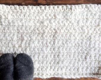Creamy White Alpaca Throw Rug