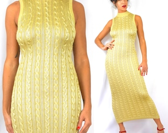Vintage 90s Contempo Casuals Golden Wheat Slinky Cableknit Tube Sweater Maxi Dress (size small, medium)