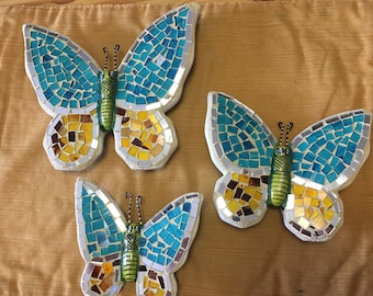 Mosaic Butterfly/ mosaic butterfly wall art/ butterfly wall art/mosaic art/ blue butterfly/ glass butterfly