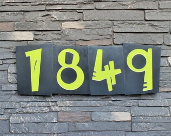 Modern House Numbers - Circus Font in Patina Finish