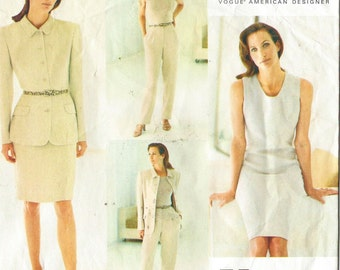 90s Calvin Klein Womens Jacket, Dress, Skirt & Pants Vogue Sewing Pattern 1635 Size 12 14 16 Bust 34 36 38 UnCut American Designer