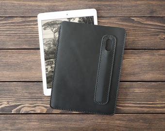 iPad 9.7 inch leather cover. iPad and Apple Pencil holder. iPad leather case. Black color.