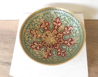 Small Brass Bowl,Vintage painted brass trinket bowl, solid brass trinket dish,ring dish ,Catchall dish