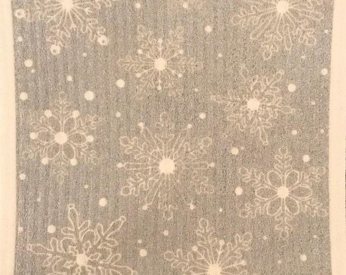 Silver Snowflakes Swedish Cloth