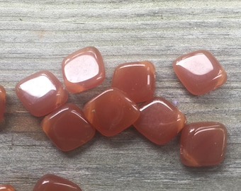 On sale!   20 diamond shaped Czech glass beads in a dark amber color