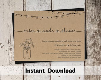 Post Wedding Brunch Invitation Printable Template - Rustic Rise & Shine Invite on Kraft Paper | Morning After Instant Download Digital File