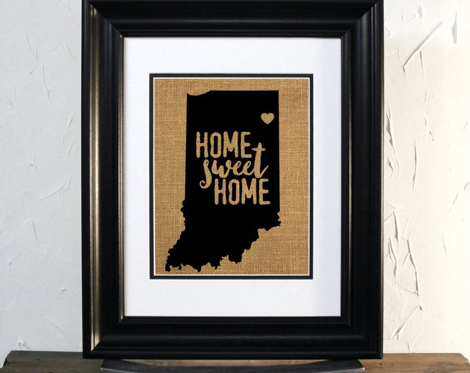Fort Wayne Indiana map Burlap Sign. Home Sweet Home. Custom city and State Map. Unframed.