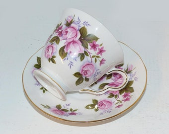Queen Anne Tea Cup and Saucer Antique Teacups, Bone China Tea Cups Pink Floral #8351 - 1835