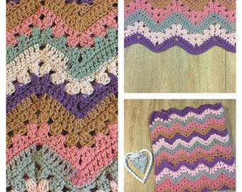 Handmade Crochet Chevron Multicolour Throw/Lap Blanket/Baby Blanket/Afghan - Pink/Purple/Grey/Brown