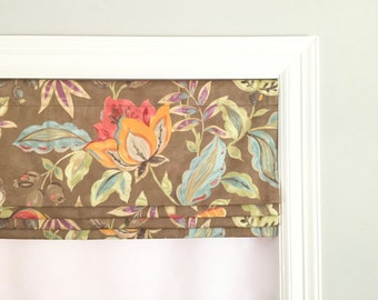 Faux (fake) flat roman shade valance. Custom Sizing. More colors available! Waverly Modern PoeticTwill Flaxseed