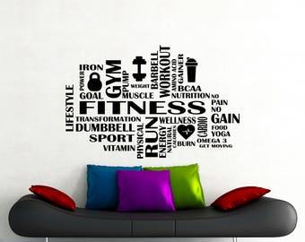 Fitness Word Cloud Wall Decal Gym Motivational Vinyl Sticker Sport Workout Poster Home Room Inspirational Art Decor Custom Mural 115gy