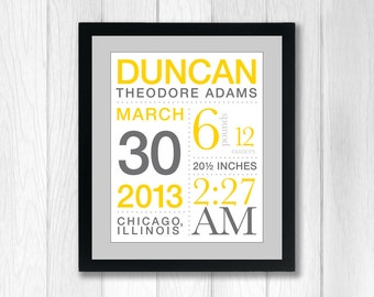 Birth Announcement Wall Art with Baby's Stats: You choose colors - 11x14 inches
