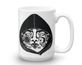 "15 oz ""Mysterious"" Ceramic Mug, Ink Illustration, Inktober, Ouija Board"