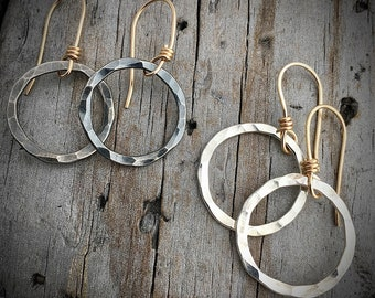Sterling Silver and Gold Filled Hammered Earrings Handmade Wild Prairie Silver Jewelry
