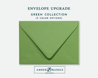 ENVELOPE UPGRADE Green Envelopes Add-On for Amber Mangle Designs Print Order Invitations A7 Note Cards A2 Stationery A6