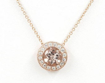 Morganite Diamond Necklace.0.25ct High Quality Diamond & 7mm AAA Natural Morganite.Slide Pendant.14k Rose Gold Necklace.Simple Necklace