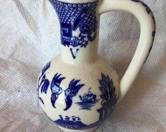 "Vintage 5"" Tall Blue and White Pitcher/Decanter"