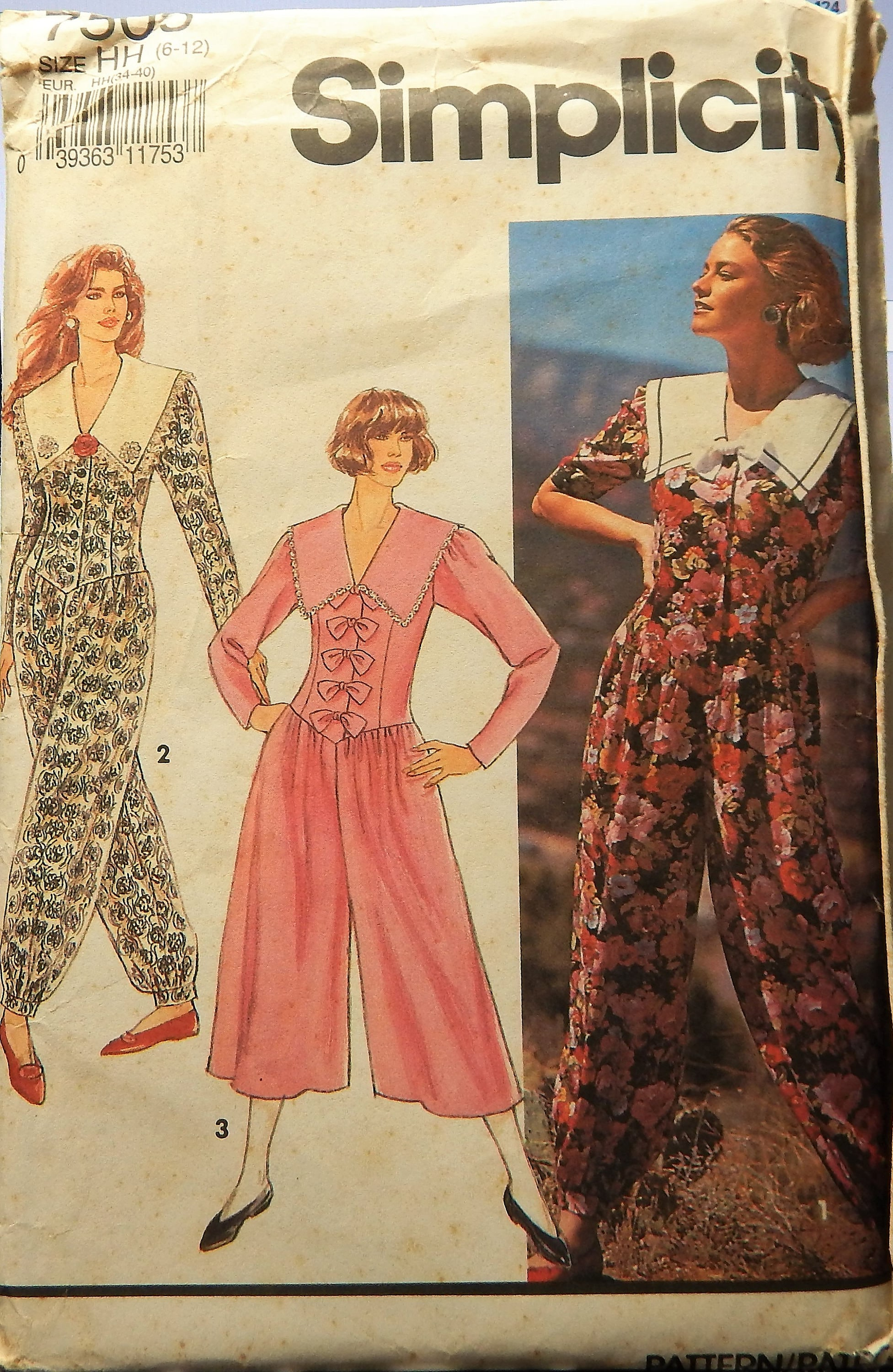 1991 Simplicity Pattern 7505 UNCUT Size Misses 6 8 10 12 Romper Dress in  two lengths...factory folded from HelensFavorites on Etsy Studio f33af986a