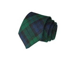 Tartan Plaid Mens Necktie~Cotton Necktie~Anniversary Gift~Wedding Tie~Blackwatch Plaid~Plaid Necktie~Mens Gift~Skinny Tie~Navy Hunter Green