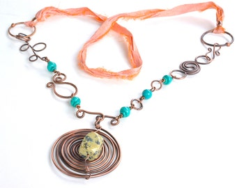 Long turquoise and sari silk necklace