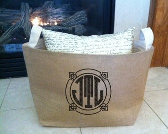large lined burlap storage basket with circle monogram, burlap storage container