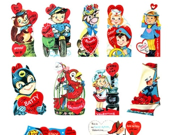 15 Valentines Cards, Instant Download Printable Vintage Valentines, Girl and Boy Valentine 2.5 inches tall, digital collage sheet 448