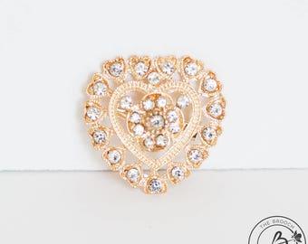 Heart brooch, heart shaped brooch, gold plated heart brooch, gold rhinestone brooch, gold broach, gold tone small heart brooch