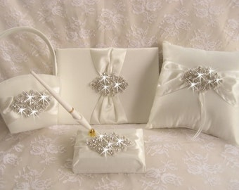 Ring Pillow, Flower Girl Basket, Guest book with Pen Set,  Wedding Guest Book,  -  Rhinestones and Satin Ivory or White