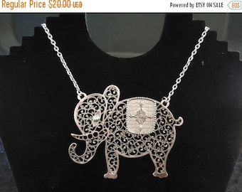 Now On Sale Vintage Silver Tone Elephant Necklace Retro Collectible Costume Jewelry