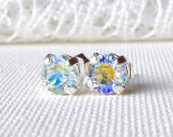 Light Azore Glacier Blue rhinestone stud earrings / 6mm / Swarovski crystal / ice blue / Aurora Borealis / bridesmaid / gift / unique