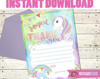 Unicorn Party THANK YOU card, Thank You, Unicorn Birthday Party, Unicorn Party Printable, Unicorn, Digital, Printable, INsTANT DOWNLOAD