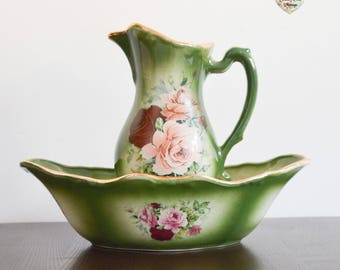 Rare 1930s Pitcher and Wash Bowl, Flora And Fauna Staffordshire England Pitcher and Wash Bowl, Green Pink, Red Roses Pitcher and Wash Bowl